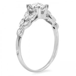 Diamond Leaf Accented Engagement Ring