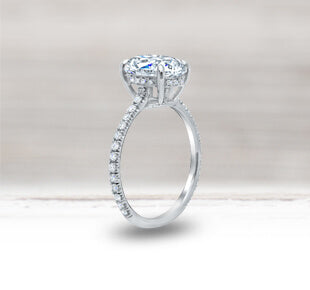 Diamond Accented Moissanite Engagement Rings