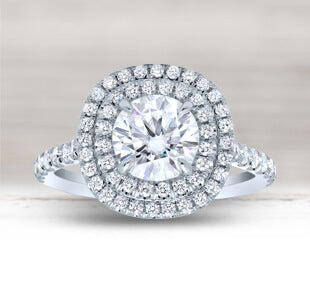 Double Halo Moissanite Engagement Rings