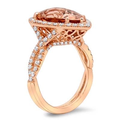 Pear Morganite Twisted Shank Halo Engagement Ring