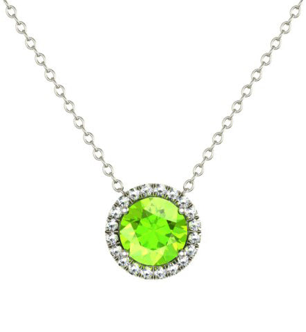 Peridot Necklace with Diamond Halo