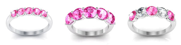 Pink sapphire five stone rings