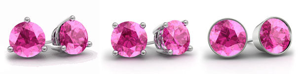 Pink topaz stud earrings