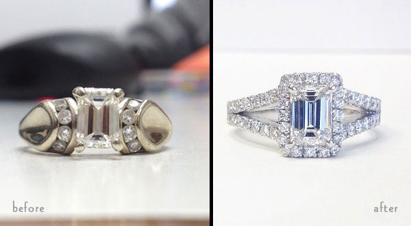 reset engagement ring before and after