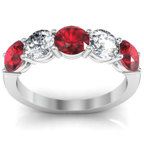 2.00 cttw 14kt Gold Ruby and SI Diamond 5 Stone Ring