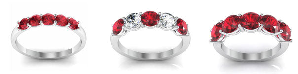 Ruby five stone rings