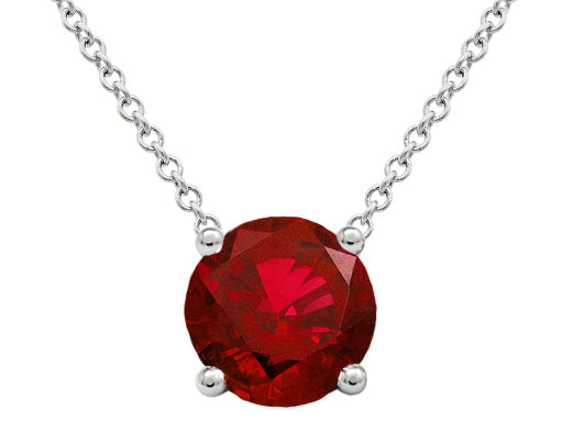Ruby Floating Solitaire Pendant - Prong