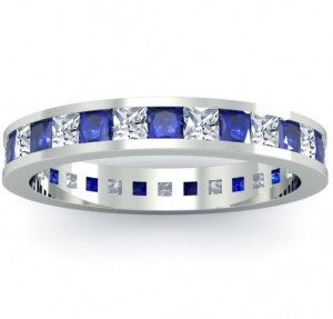 eternity bands with blue sapphires
