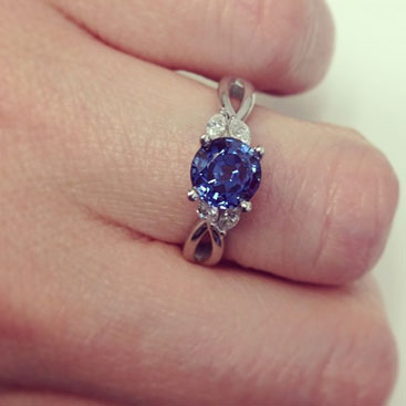 sapphire diamond vine twisted engagement ring