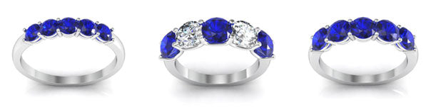 Sapphire five stone rings