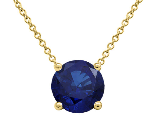 Sapphire Floating Solitaire Pendant - Yellow Gold