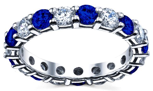 Sapphire and Round Diamond Eternity Ring Shared Prong 2 cttw