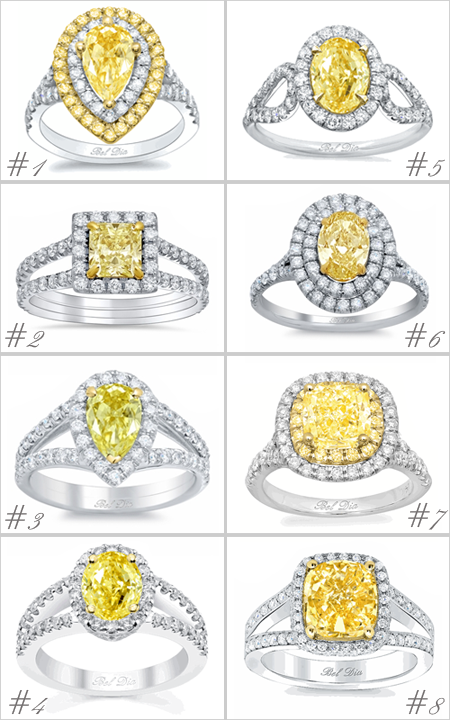Split Shank Yellow Diamond Engagement Rings