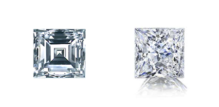 Left: Carre diamond Right: Princess diamond