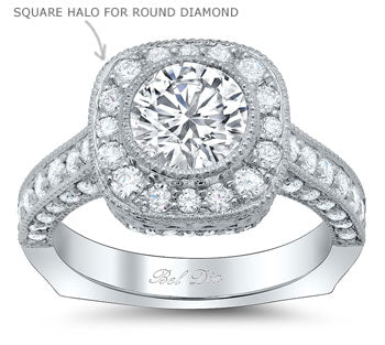 Round Diamond with a Square Halo