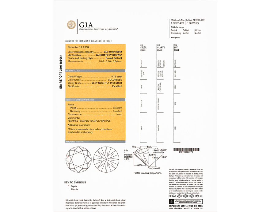 synthetic diamond grading report