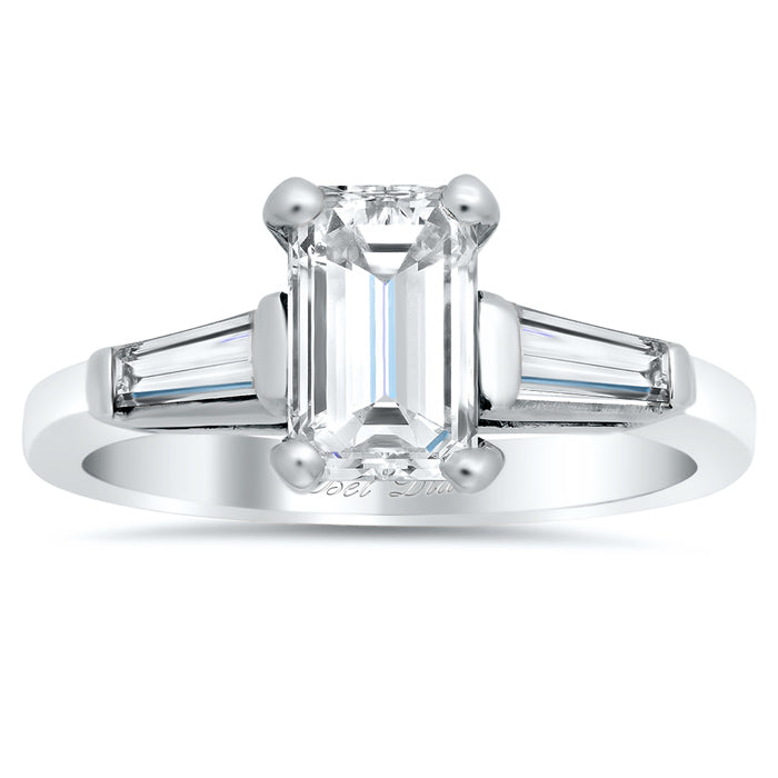 Three Stone Ring with Tapered Baguettes