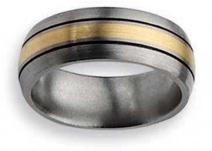 14 kt gold inlay titanium ring 8mm