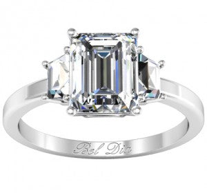 Trapezoid Three Stone Engagement Ring