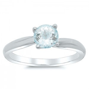 Twisted Solitaire Engagement Ring for Aquamarine