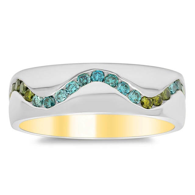Custom Wave Pattern Domed Band w/ Irradiated Colored Diamonds