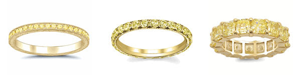 Yellow sapphire eternity bands