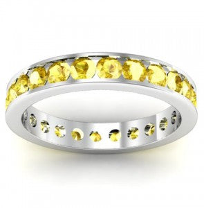 Yellow Sapphire Channel Set Eternity Band