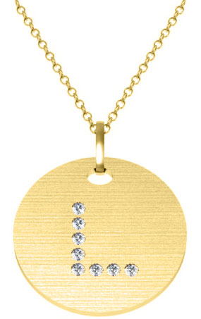 L initial pendant in yellow gold with diamonds