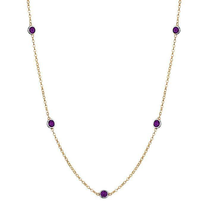 Amethyst Station Necklace Necklaces deBebians