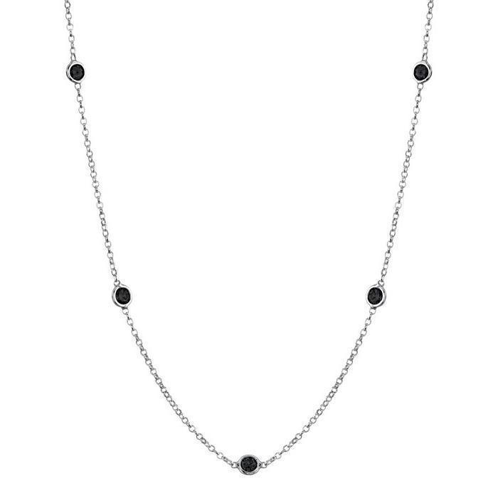 Black Diamond Station Necklace Necklaces deBebians