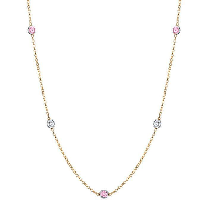 By the Inch Style Station Necklace with 0.50 cttw Diamonds and Pink Sapphires Gemstone Station Necklaces deBebians