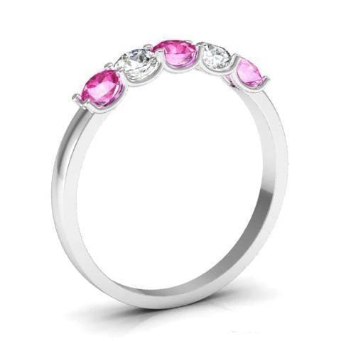0.50cttw U Prong Pink Sapphire and Diamond Five Stone Band Five Stone Rings deBebians