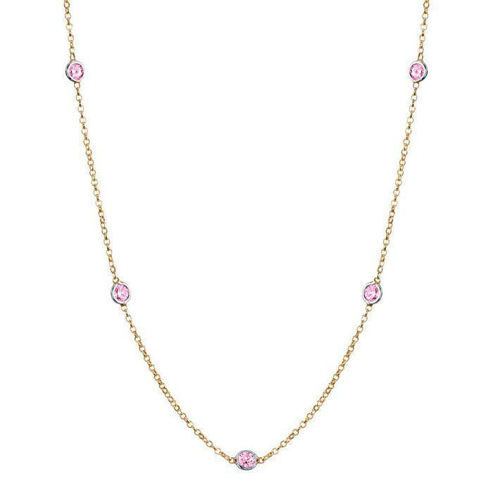 Pink Sapphire Station Necklace Necklaces deBebians