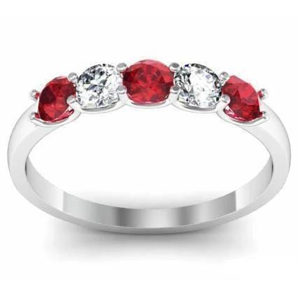 0.50cttw U Prong Ruby and Diamond 5 Stone Band Five Stone Rings deBebians