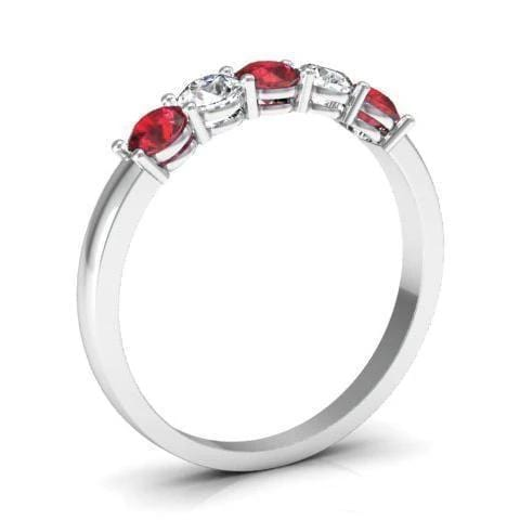 0.50cttw Shared Prong Ruby and Diamond 5 Stone Ring Five Stone Rings deBebians