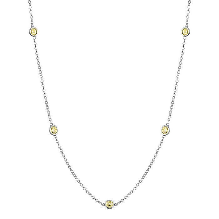 Yellow Sapphire Station Necklace Necklaces deBebians