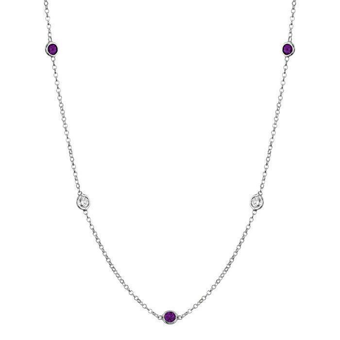 Amethyst and Diamond Station Necklace Necklaces deBebians