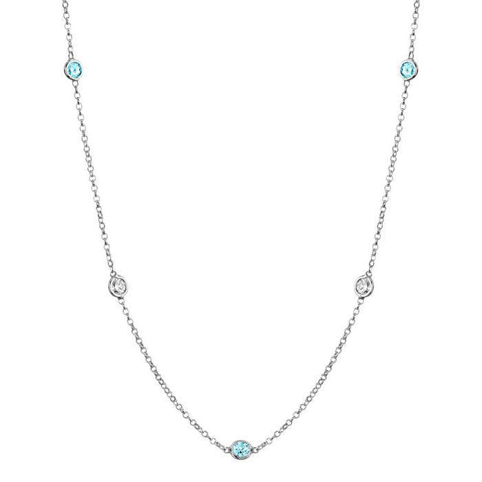 Aquamarines and I1 Diamonds Bezel Necklace Gemstone Station Necklaces deBebians