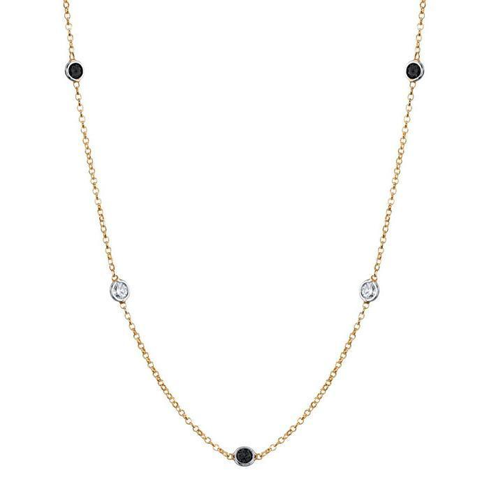 Station Necklace with Black and White Diamonds Gemstone Station Necklaces deBebians