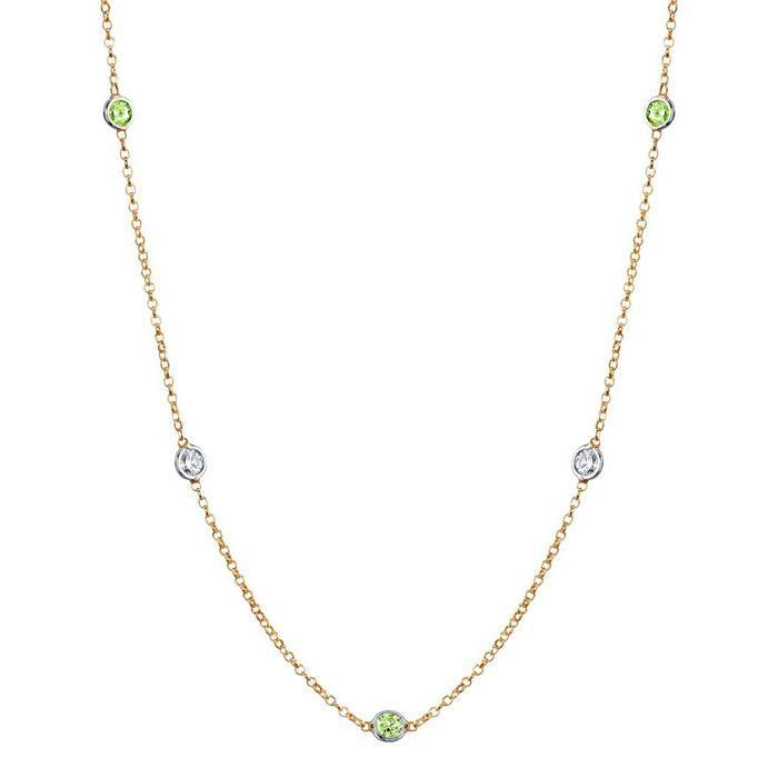Peridot and Diamond Station Necklace Gemstone Station Necklaces deBebians