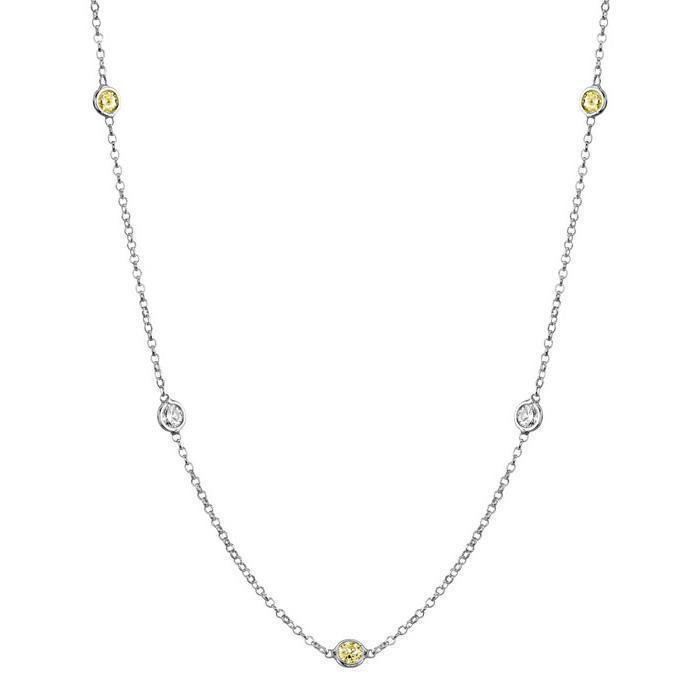 Yellow Sapphire and Diamond Station Necklace Necklaces deBebians