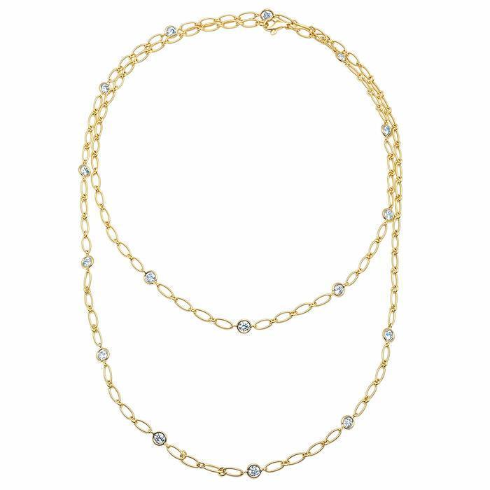 "1.60cttw Diamond and Yellow Gold Handmade 36"" Necklace Diamond Station Necklaces deBebians"