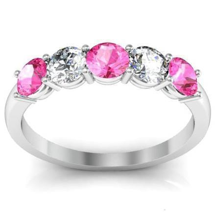 1.00 cttw Shared Prong Pink Sapphire and Diamond Five Stone Ring Five Stone Rings deBebians