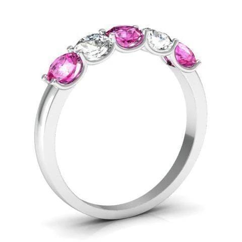 1.00 cttw U Prong Pink Sapphire and Diamond Five Stone Band Five Stone Rings deBebians