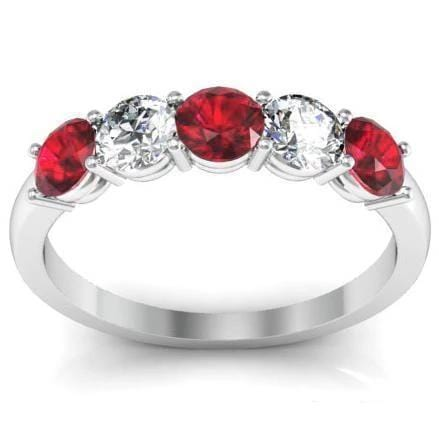 1.00cttw Shared Prong Ruby and Diamond 5 Stone Ring Five Stone Rings deBebians