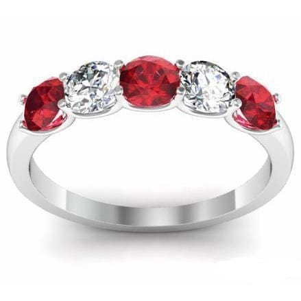 1.00cttw U Prong Ruby and Diamond 5 Stone Band Five Stone Rings deBebians