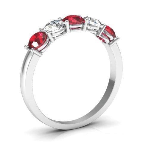 1.00 cttw Ruby and I1 Diamond 5 Stone Ring