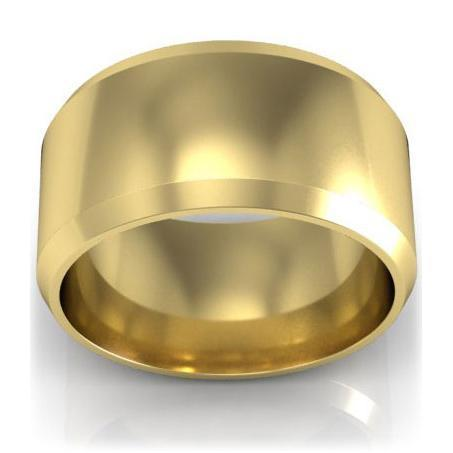 18kt Gold Wedding Ring Beveled 10mm Plain Wedding Rings deBebians
