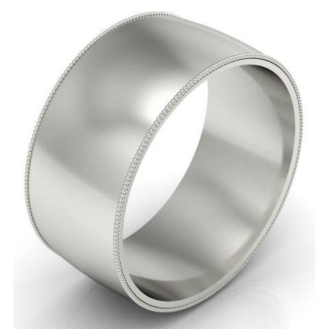 10mm Milgrain Wedding Band in 14k Plain Wedding Rings deBebians