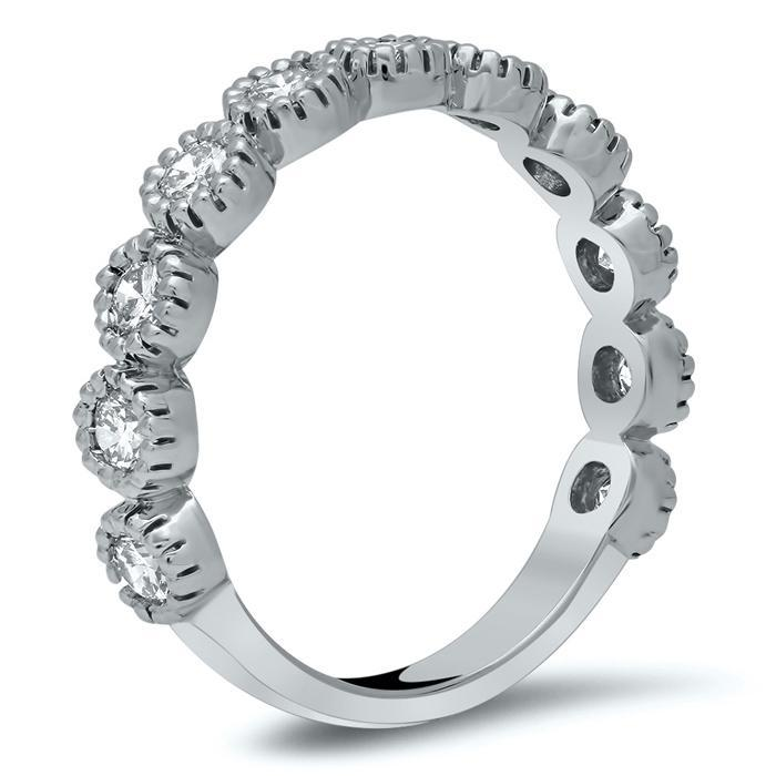 11 Stone Bezel Diamond Band with Milgrain Diamond Wedding Rings deBebians
